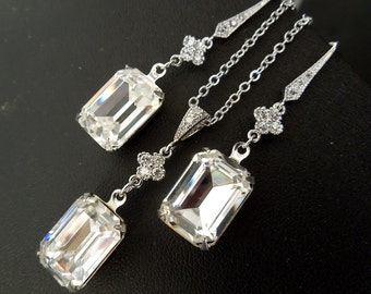 Earrings and Necklace set,Wedding Crystal Set,Crystal Bridal earrings,Wedding Bridal jewelry,Bridal Set,Crystal Drop Bridal Earrings,ARIA