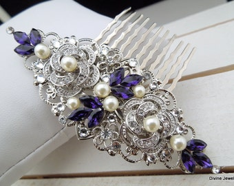 Pearl Hair Comb,Bridal Pearl crystal Hair Comb,Wedding Rhinestone Hair Comb,Purple Hair Comb,Ivory or White Pearl,Pearl Hair Comb,ROSELANI