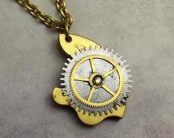 Pocket Watch Plate Necklace, Brass, Steel, Large Gear, Rustic