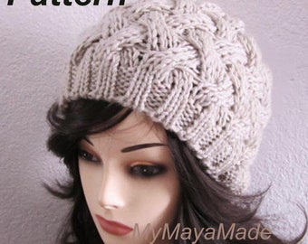 Knitting Pattern - Chunky Cabled Knitted Hat PDF Pattern - HAT02152014-02 - Instant Download