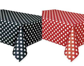 Set of 2 Minnie Mouse Polka Dots Table Covers Red & Black Lady Bug Birthday Mickey