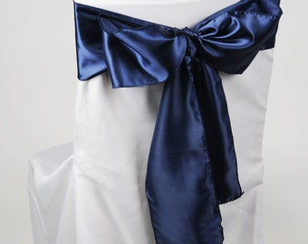 Satin Chair Sash 6 in x 106 in - NAVY BLUE - Great for weddings or parties