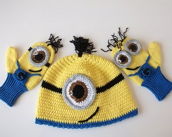 COTTON-Despicable Me Minion set-Minion Hat and Minion Mittens Gloves- Baby Boy Girl Photo Prop Set -baby halloween outfits