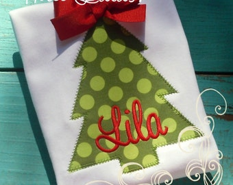 Christmas Shirt, Girls Christmas Tree Shirt Monogrammed Personalized Applique Girl