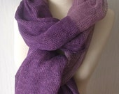 Linen Scarf Knitted Shawl Natural Summer Wrap in Purple, Pale Violet