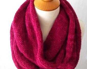 Knit Scarf Chunky Infinity Circle  Scarf  In Fuchsia Peony Pink  Long Warm Soft Merino Kid Mohair SALE