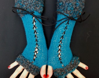Fingerless Gloves, Long Corset Arm Warmers Handknit in Dark Turquoise/ Blue Victorian Style