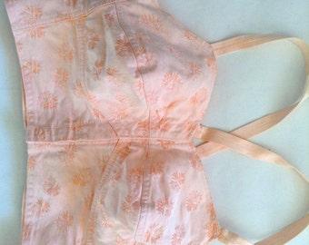 French VTG baby pink corset / bustier/ bullet bra Paris