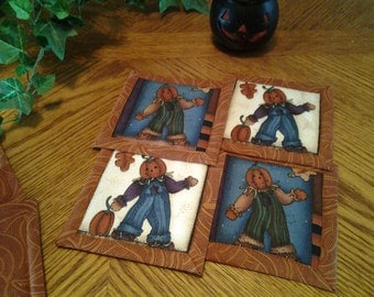 Quilted Halloween Fabric Coasters - Set of 4
