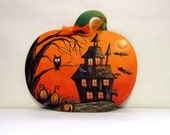 Pumpkin Shaped Halloween Themed Scene with Trick or Treaters or Haunted House, Silhouette Children or House, Pumpkin Shaped Wood Cutout