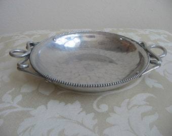 Mid Century Buenilum Shiny Aluminum Dish Bowl With Swirl Handles, Vintage Textured Silver Metal Hammered Collectible