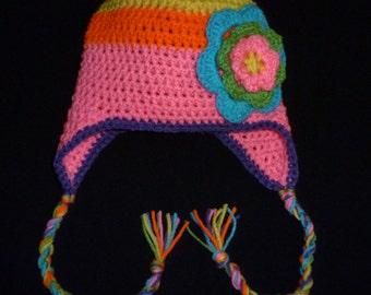 Flowered Earflap Hat