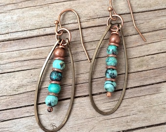 Turquoise Earrings with Hammered Copper Hoops