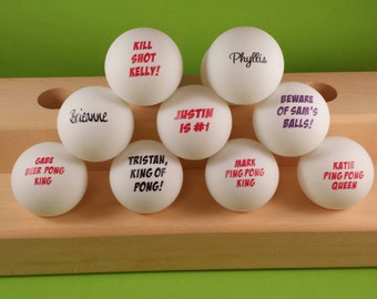 6 Personalized Ping Pong Balls with Different Text