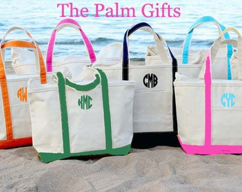 Large Tote Bags Bridesmaids Bags- Personalized Boat Tote Monogrammed Beach Tote Bag from The Palm Gifts - Select Color