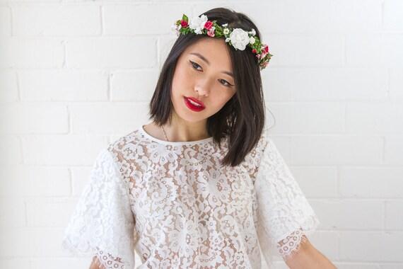 pink white rose hair wreath // woodland, dainty flower crown headpiece, headband, hair crown - 'Zuzana'