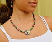 OOAK Moon Face  Necklace Ruby in Zoisite and Rhodonite