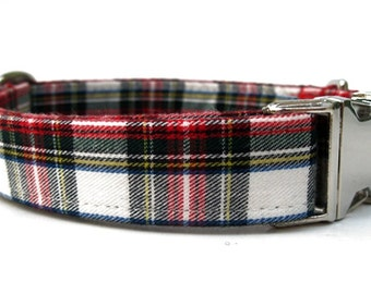 Lumberjack Plaid Dog Collar with Nickel Plate Hardware