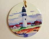 Holiday Tree Ornament Ceramic Lighthouse Print