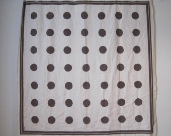 "Tablecloth Polka Dot Vintage White Brown 49"" W x 50"" L TXTL508s"