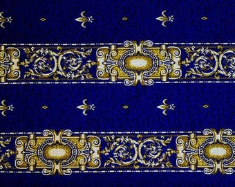 Luxury Upholstery Tapestry Fabric 1 yard  fluer de lis Blue Classic