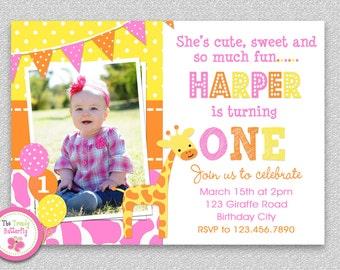 Giraffe Birthday Invitation , Giraffe 1st Birthday Party Invitation