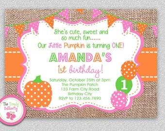 Fall Pumpkin 1st Birthday Invitation , Fall 1st Birthday Party Invitation
