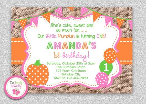 Fall Pumpkin 1st Birthday Invitation Party Burlap Girls