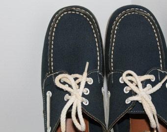 Vintage Dexter Navy Blue Canvas Boat Shoes
