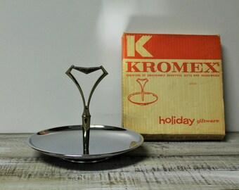 Vintage Kromex Single Tier Tidbit Tray No. 560, Holiday Giftware