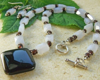 On SALE!! Lavender Agate & Brown Glass Beads Necklace and Matching Earrings