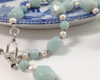 Amazonite & White Freshwater Pearl Sterling Silver Chunky Necklace