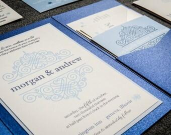 """Winter Wedding Invitations, Blue and Silver Wedding Invitations, Pocket Fold Wedding Invitation, Custom Invites - """"European Scroll"""" PF-1L-v1"""