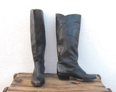 Black Riding Boho Boots Leather Ladies Size 6