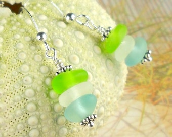 GENUINE Stacker Sea Glass Earrings Sterling Silver Lime Green Turquoise And White