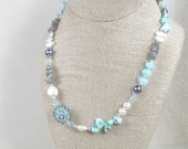 Necklace with Labradorite, Mixed Pearls, Larimar and Lampwork Focal Bead