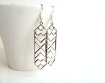 Silver Geometric Earrings - Long tribal style arrow shape angular design in antique / oxidized silver on simple silver hooks - modern trendy