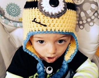 Super Cute Crochet Minion Inspired earflap hat  - Made to ORDER