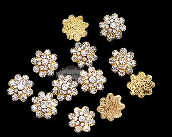 20 Gold  Rhinestone Metal Flatback Embellishment Buttons RD350 wedding bridal flowers bouquets invitations accessories hair