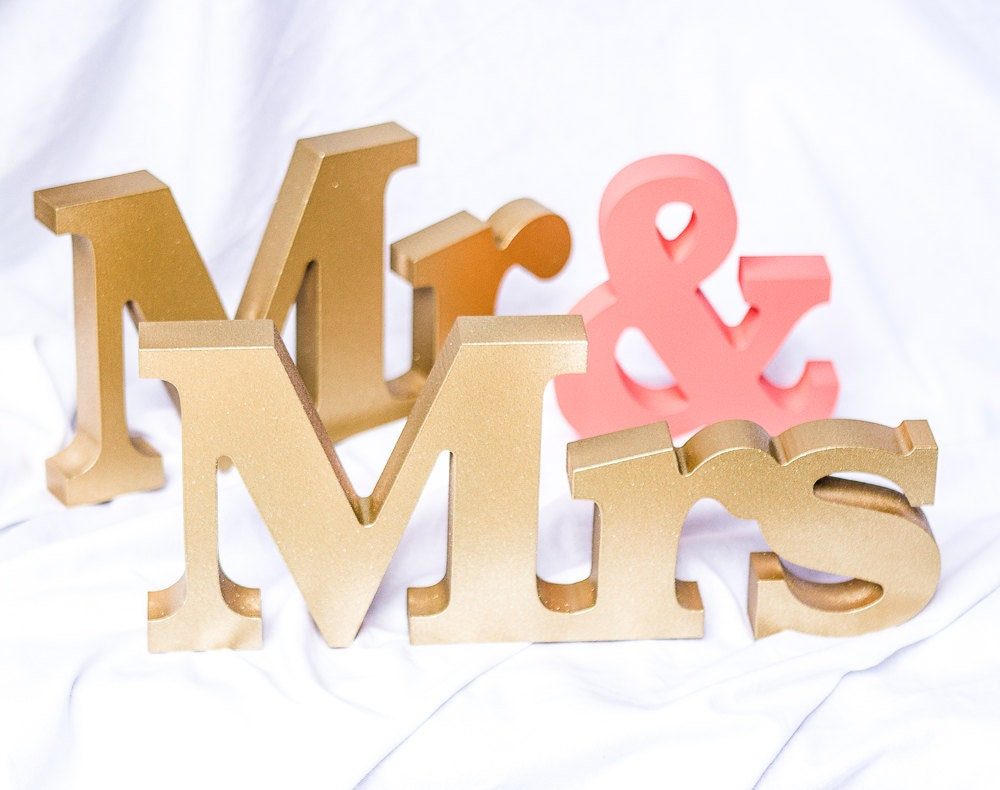 Mr And Mrs Large Wooden Letters: Wedding Signs Mr And Mrs Signs Mr And Mrs Letters For