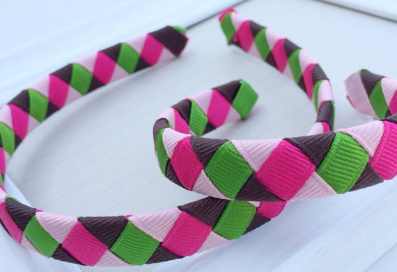 Girl Doll Headband: pink green brown dark pink dolly and me