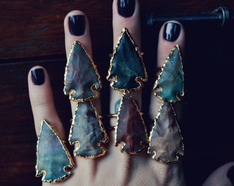 GALAXY  ARROWHEAD /// Double Banded Arrowhead 24kt Gold Electroformed Ring /// Lux Divine