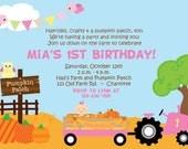 First Birthday Pumpkin Patch Birthday Party Invitation Farm Birthday Invitation Pumpkin Farm Birthday Girls Fall Birthday Invitation