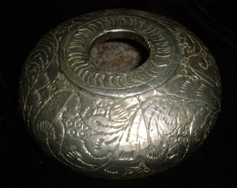 Antique Wooden Dish Covered with Silver Metal Middle East Asian