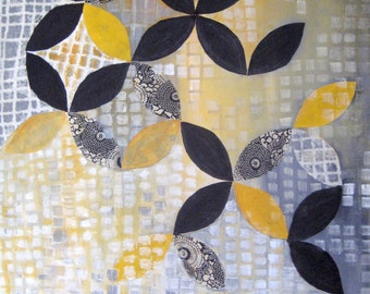 "ORIGINAL abstract MIXED MEDIA collage painting-Original art 24""x36"" grey yellow ivory"