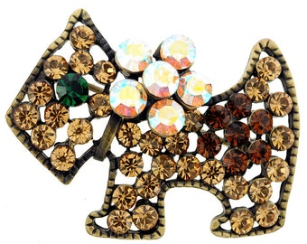 Topaz Brown Dog Crystal Pin Brooch 1011731
