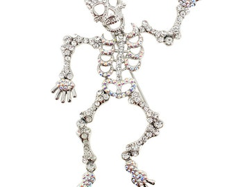 Crystal Skull Pin Brooch And Pendant(Chain Not Included) 1003362