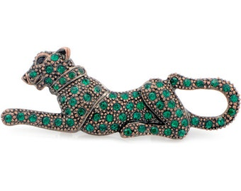 Vintage Style Emerald Green Panther Crystal Pin Brooch 1001332