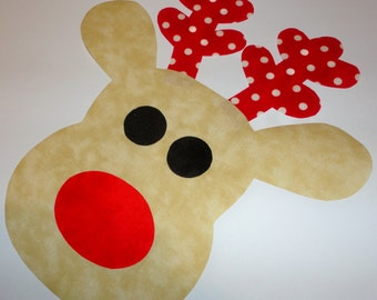Iron On Christmas Applique LARGE REINDEER With Christmas Red Dot Antlers