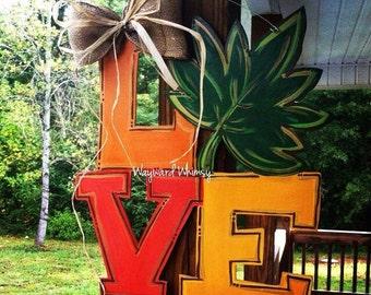 Fall LOVE with leaf Door hanger Halloween door hanger